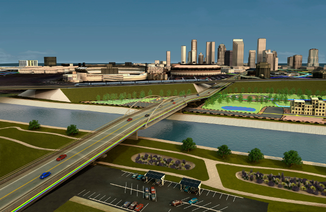Refreshed version of the Infrastructure Design Suite 2013 hero image. Rendering of an urban site showcasing transportation, utility, land, and water infrastructure. Autodesk(r) Infrastructure Design Suite and Autodesk(r) 3ds Max(R) Design software products were used in the design process.
